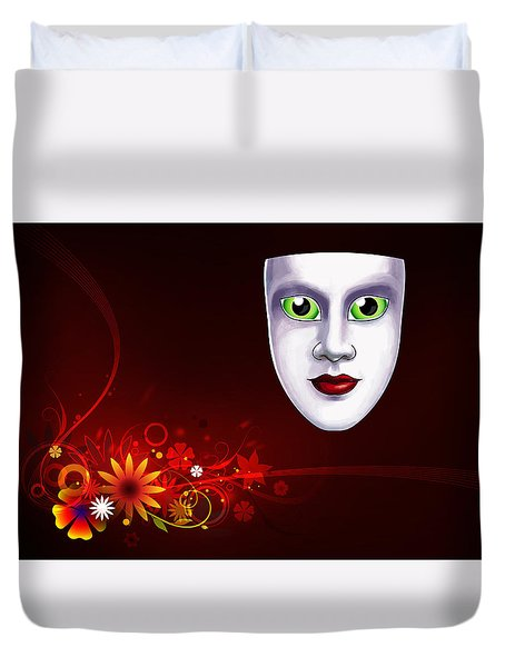 Mardi Gras Mask Red Vines Duvet Cover