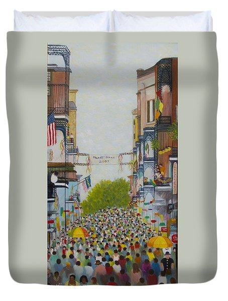 Mardi Gras On Bourbon Street Duvet Cover by Douglas Ann Slusher