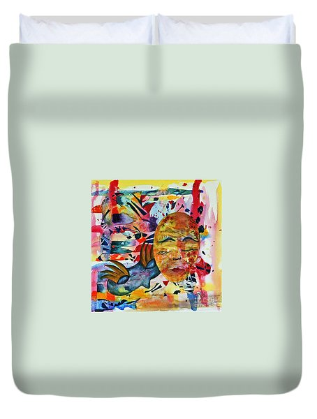 Duvet Cover featuring the painting Mardi Gras by Terri Mills