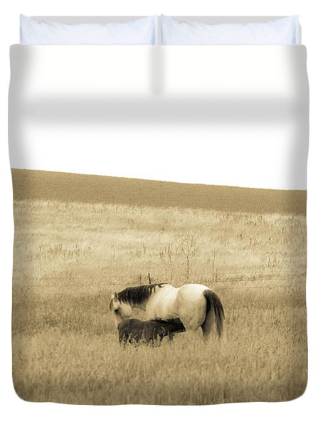 Duvet Cover featuring the photograph Mare And Foal  by Dawn Romine
