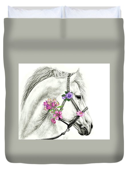 Mare With Flowers Duvet Cover