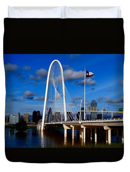 Duvet Cover featuring the photograph Margaret Hunt Hill Bridge Dallas Flood by Kathy Churchman