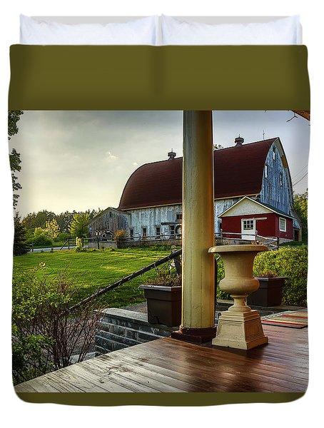 Duvet Cover featuring the photograph Margaretville Mountain Inn by Paula Porterfield-Izzo