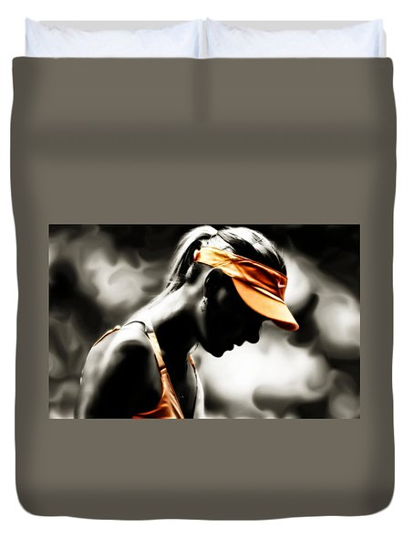 Duvet Cover featuring the digital art Maria Sharapova Deep Focus by Brian Reaves