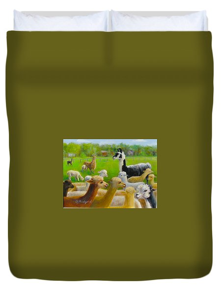Duvet Cover featuring the painting Mariah Guards The Herd by Oz Freedgood
