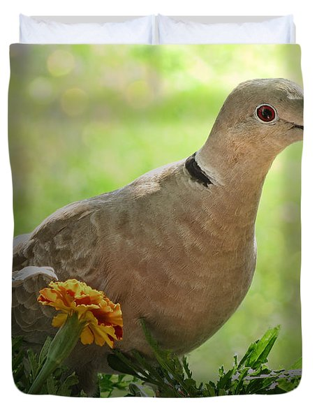 Duvet Cover featuring the photograph Marigold Dove by Debbie Portwood