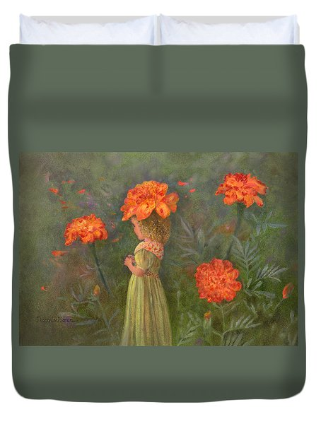 Duvet Cover featuring the painting Marigold Flower Fairy by Nancy Lee Moran