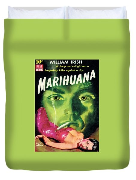 Duvet Cover featuring the painting Marihuana by Bill Fleming