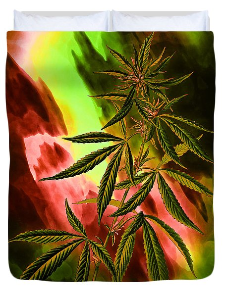 Marijuana Cannabis Plant Duvet Cover