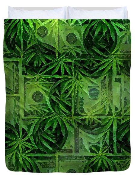 Marijuana Dollars Duvet Cover