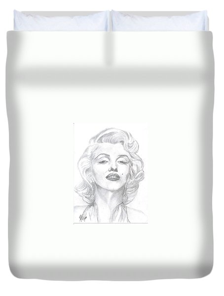 Duvet Cover featuring the drawing Marilyn  by Carol Wisniewski