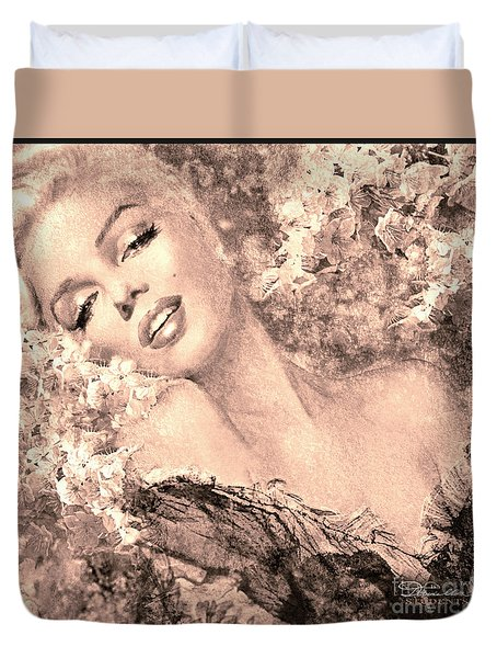 Marilyn Cherry Blossom, B Sepia Duvet Cover
