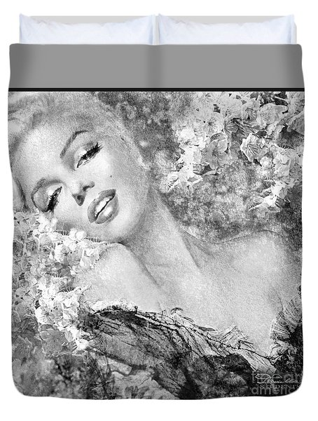 Marilyn Cherry Blossom Bw Duvet Cover