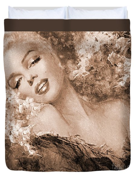 Marilyn Cherry Blossoms, Sepia Duvet Cover
