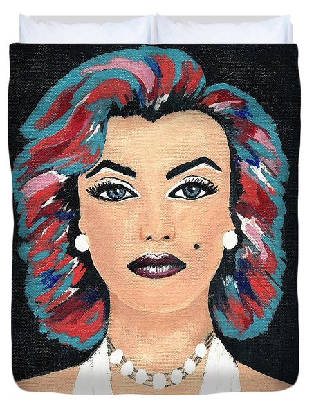 Duvet Cover featuring the painting Marilyn by Kathleen Sartoris