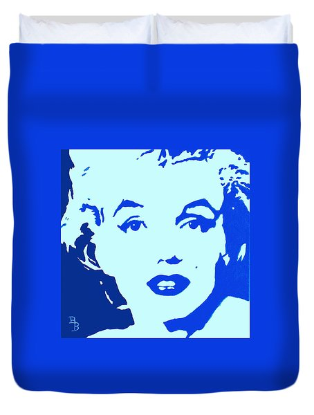 Marilyn Monroe Blue Pop Art Portrait Duvet Cover