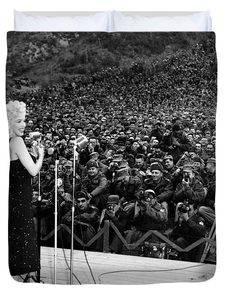 Marilyn Monroe Entertaining The Troops In Korea Duvet Cover