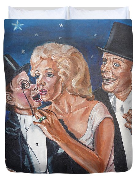Duvet Cover featuring the painting Marilyn Monroe Marries Charlie Mccarthy by Bryan Bustard