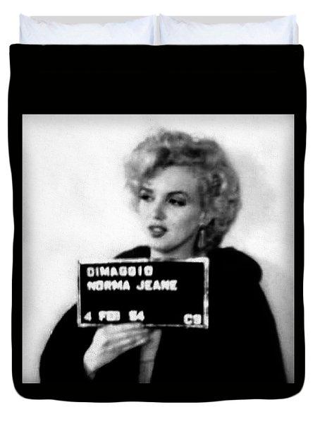 Marilyn Monroe Mugshot In Black And White Duvet Cover