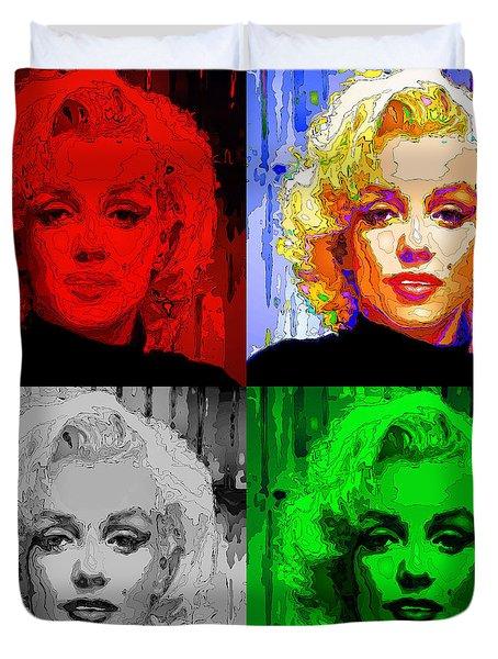 Marilyn Monroe - Quad. Pop Art Duvet Cover