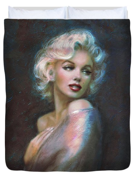 Marilyn Romantic Ww Dark Blue Duvet Cover