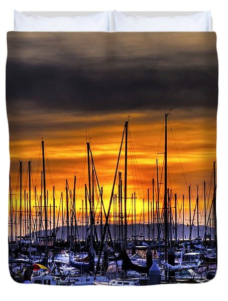 Marina At Sunset Duvet Cover