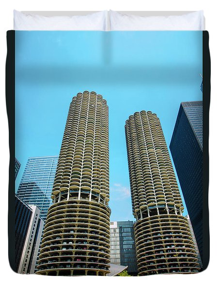 Duvet Cover featuring the photograph Marina City Chicago by Deborah Smolinske