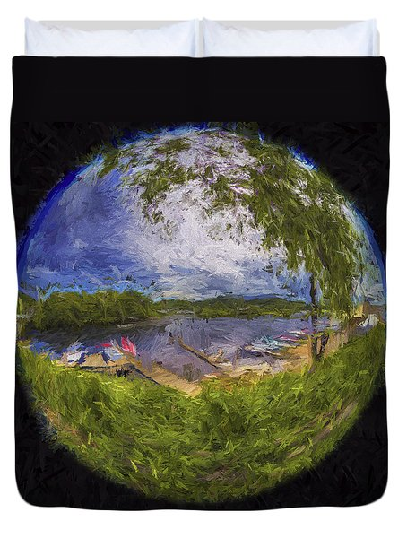 Duvet Cover featuring the photograph Marina Fisheye by Tom Singleton