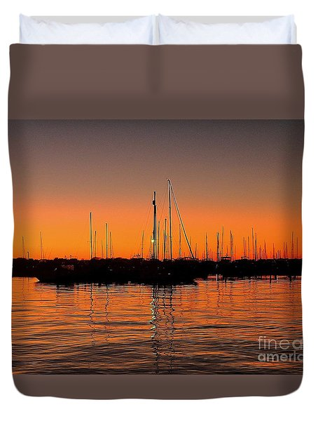 Duvet Cover featuring the photograph Marina Moonlight Masts by Shelia Kempf