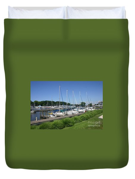 Marina On Black River Duvet Cover