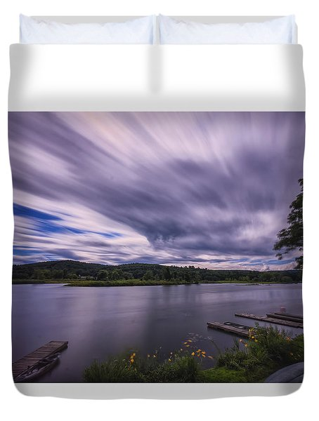 Duvet Cover featuring the photograph Marina Sky by Tom Singleton