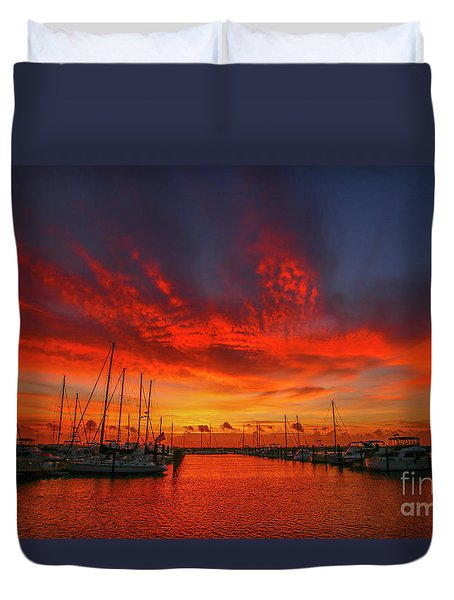 Marina Sunrise - Ft. Pierce Duvet Cover
