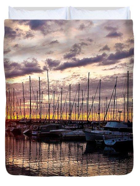 Marina Sunset Duvet Cover by Mike Reid