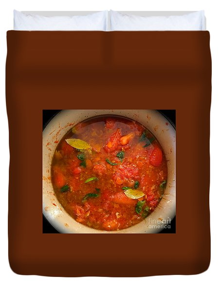 Duvet Cover featuring the photograph Marinara Magic by Suzanne Oesterling