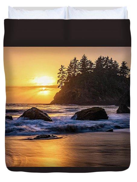 Marine Layer Sunset At Trinidad, California Duvet Cover