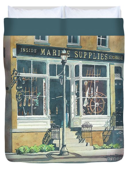 Duvet Cover featuring the painting Marine Supply Store by LeAnne Sowa