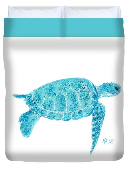 Marine Turtle Painting On White Duvet Cover