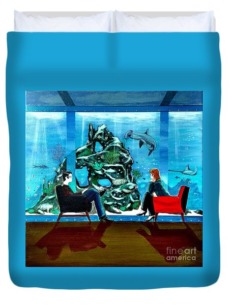 Marinelife Observing Couple Sitting In Chairs Duvet Cover