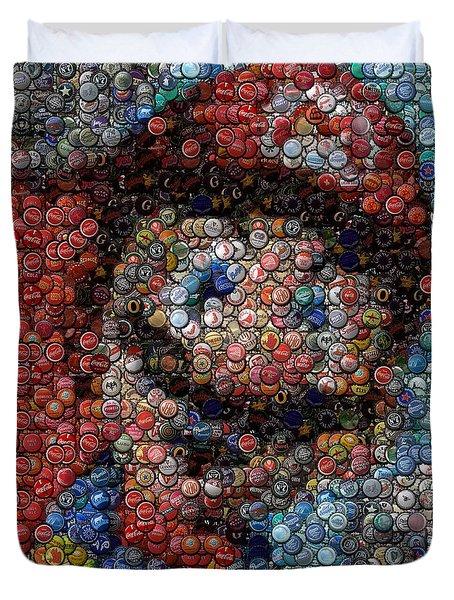 Mario Bottle Cap Mosaic Duvet Cover by Paul Van Scott