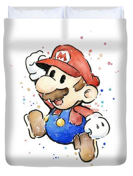 Mario Watercolor Fan Art Duvet Cover