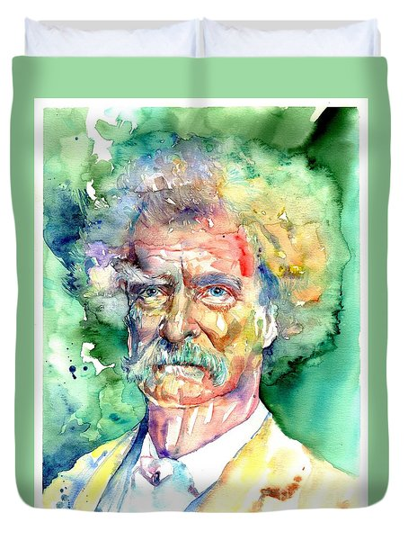 Mark Twain Watercolor Duvet Cover
