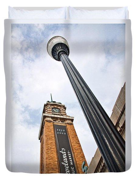 Market Clock Tower Duvet Cover