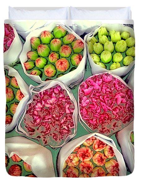 Market Flowers - Hong Kong Duvet Cover