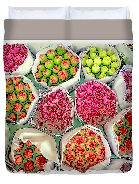 Market Flowers - Hong Kong Duvet Cover