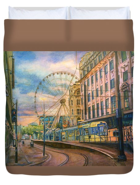Market Street Metrolink Tramstop With The Manchester Wheel  Duvet Cover