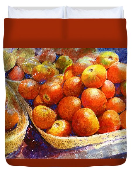 Duvet Cover featuring the painting Market Tomatoes by Andrew King