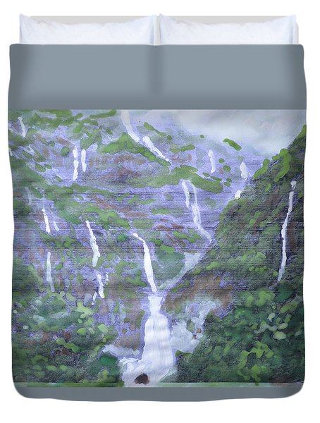 Duvet Cover featuring the painting Marleshwar by Vikram Singh
