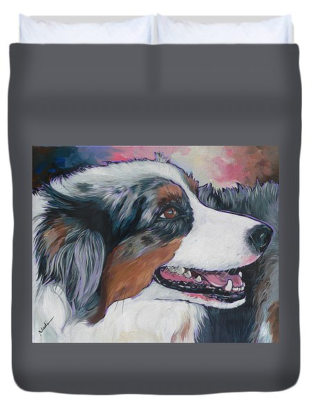 Duvet Cover featuring the painting Marley by Nadi Spencer