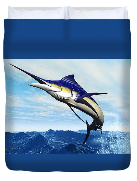 Marlin Jump Duvet Cover by Corey Ford