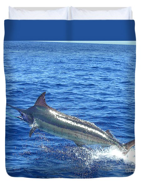 Marlin On The Line Duvet Cover